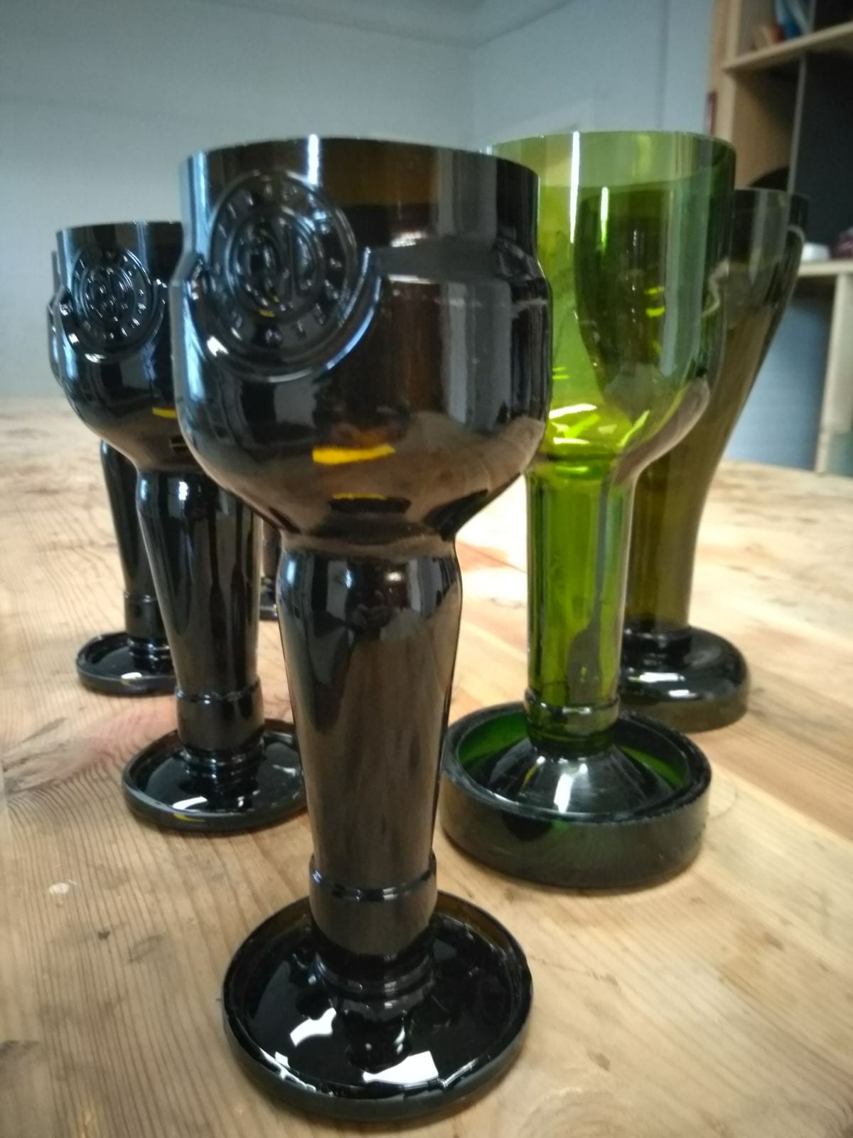 Cut beer or wine glasses