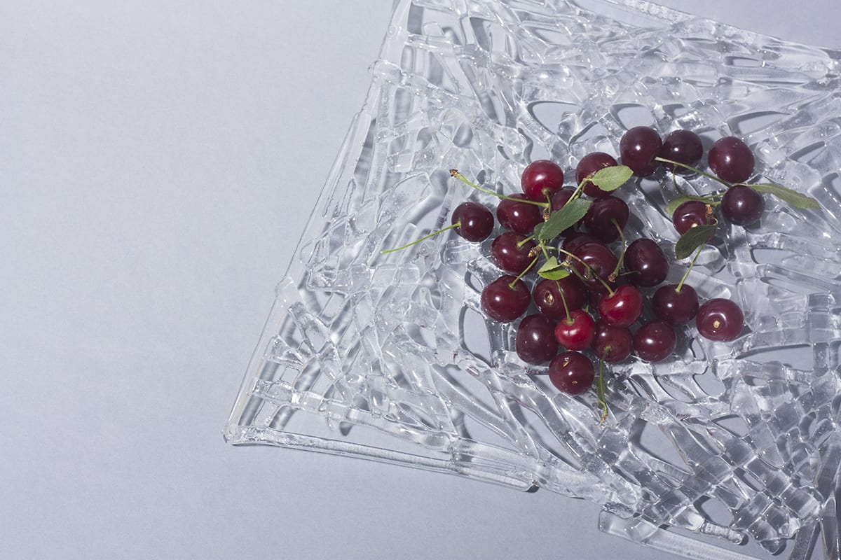 Clear elegant icy unique glass plate