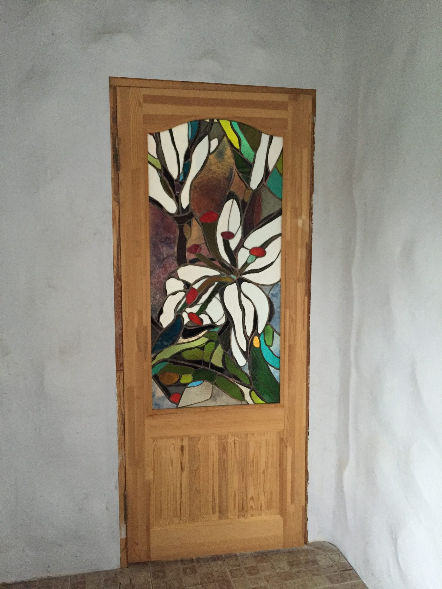 Colorful stained glass door mosaic
