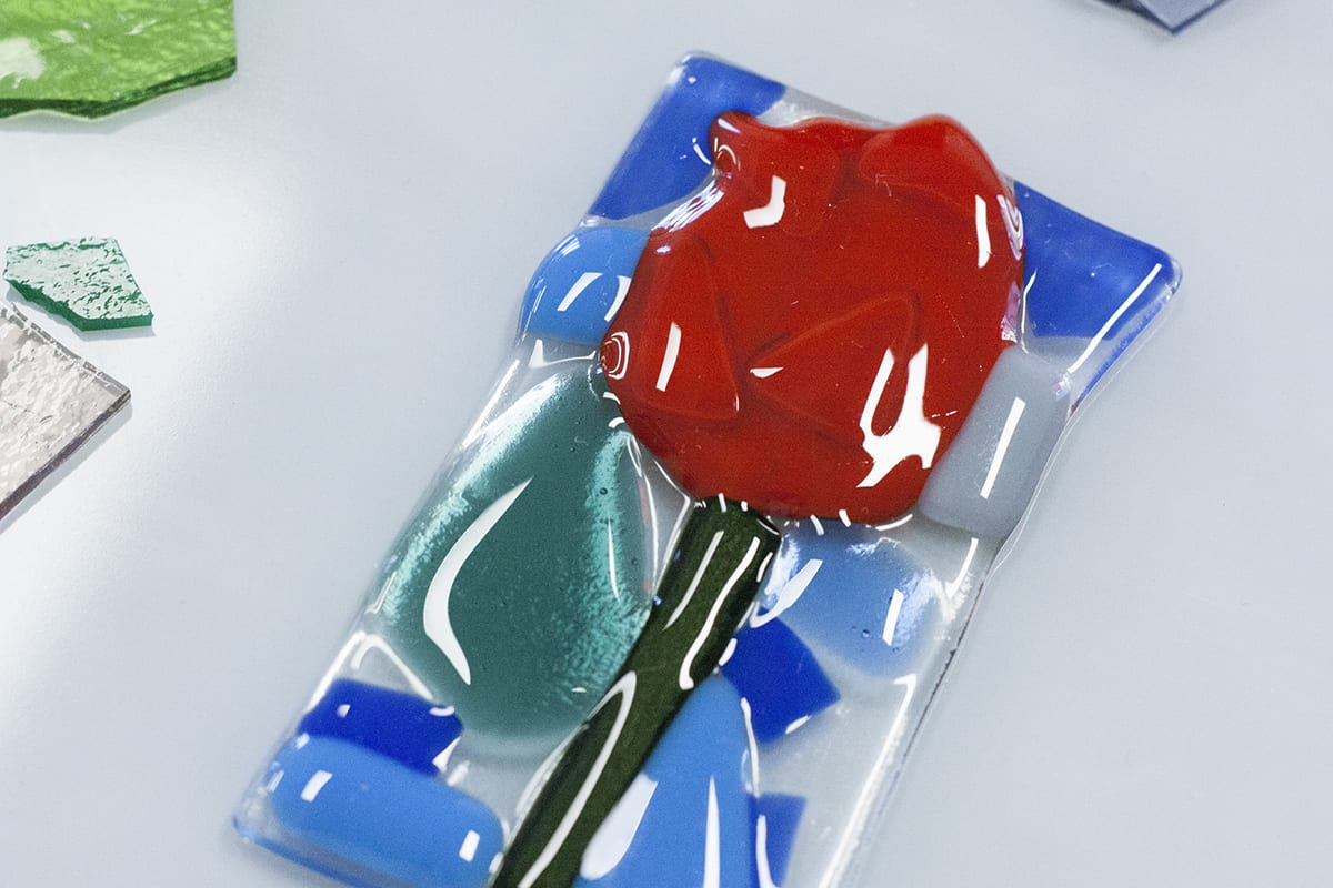 Handmade flower decoration from Glass