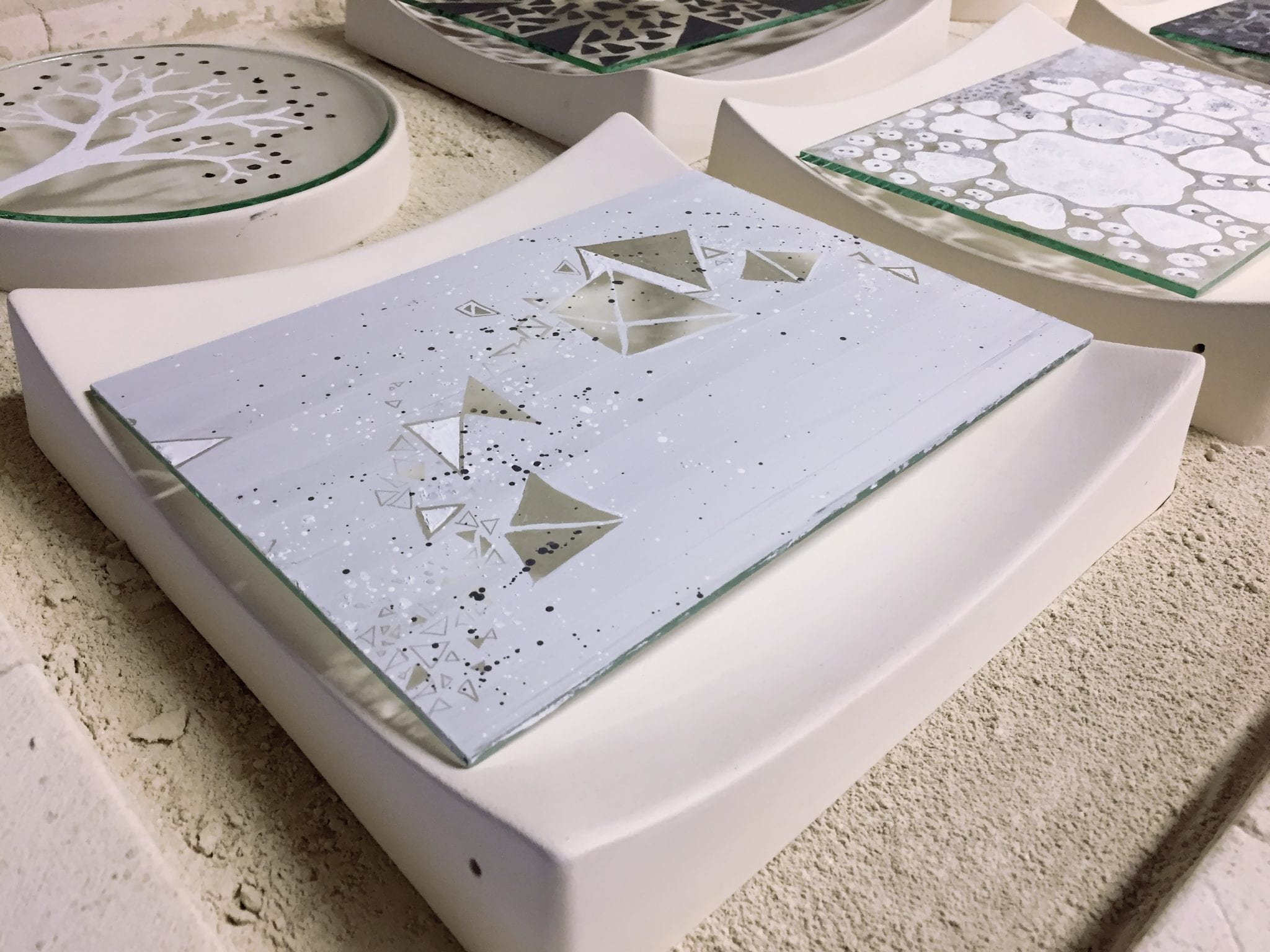 Glass plates in the kiln