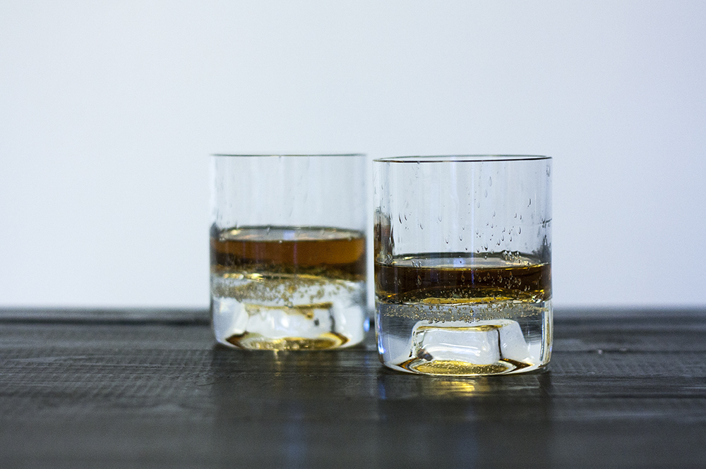 whiskey glass set handblown