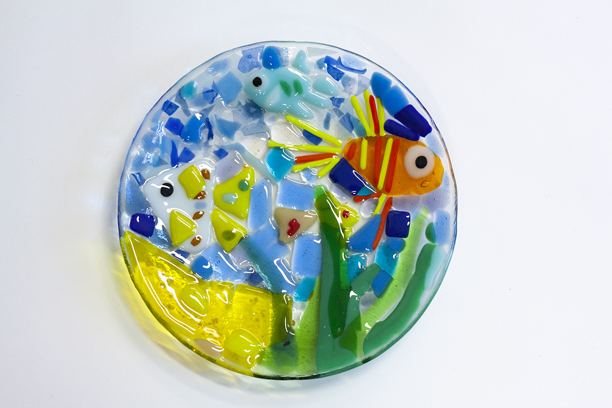 Colorful Handmade Mosaic on Glass Plate. Workshop at Glass Point
