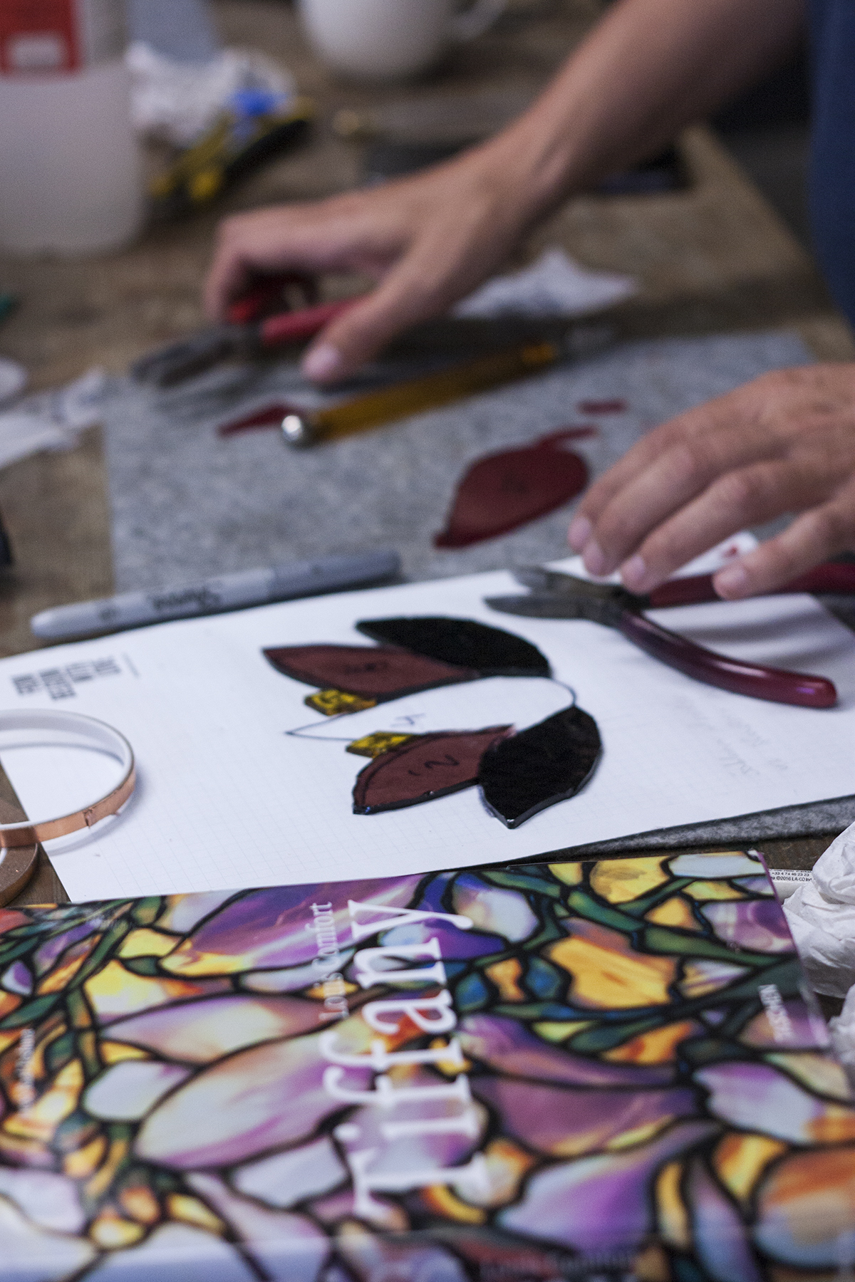 Process of making Handmade stained Glass Piece with the Tiffany Technique. Workshop at Glass Point