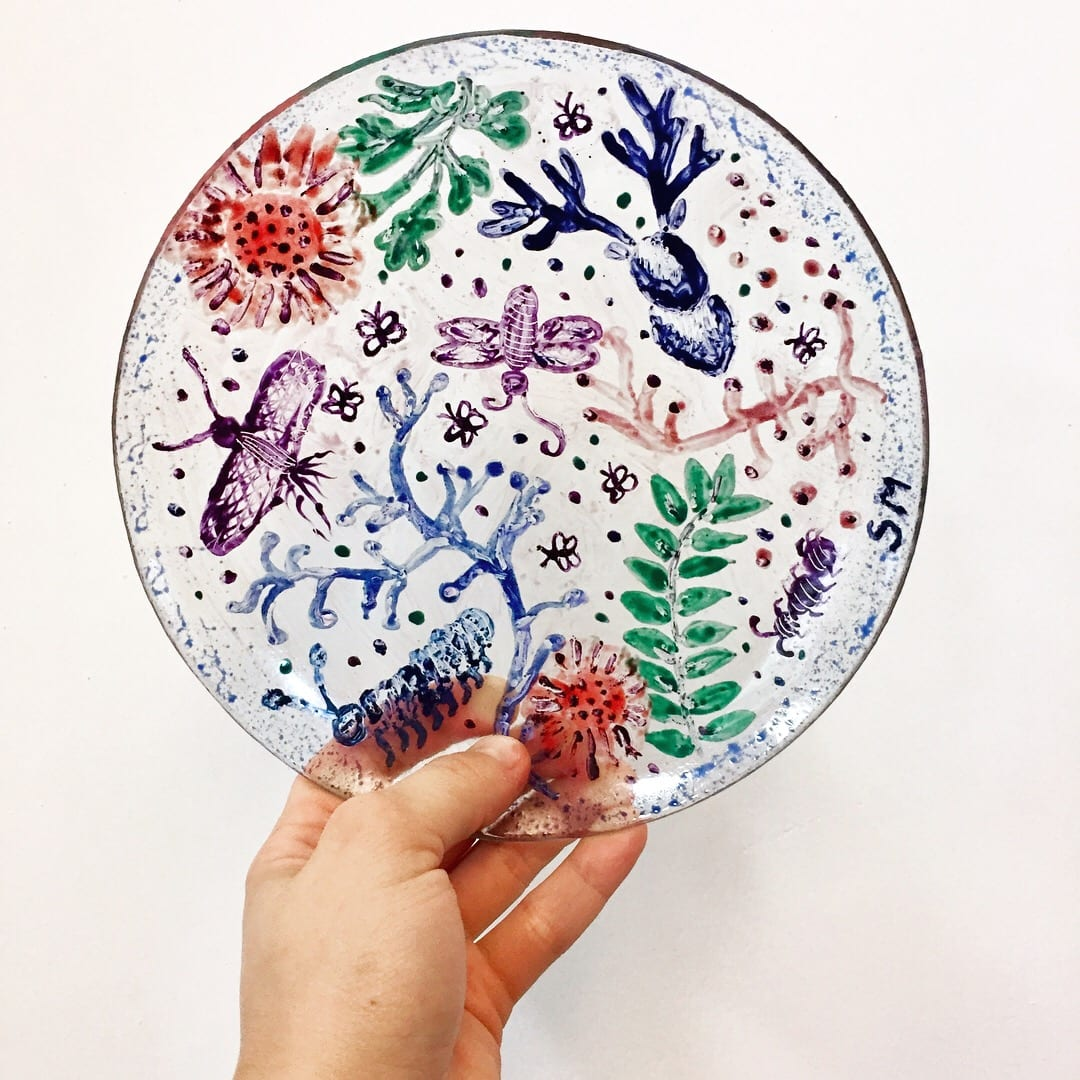 Handmade Colourful glass plate painting workshop. Glass Point