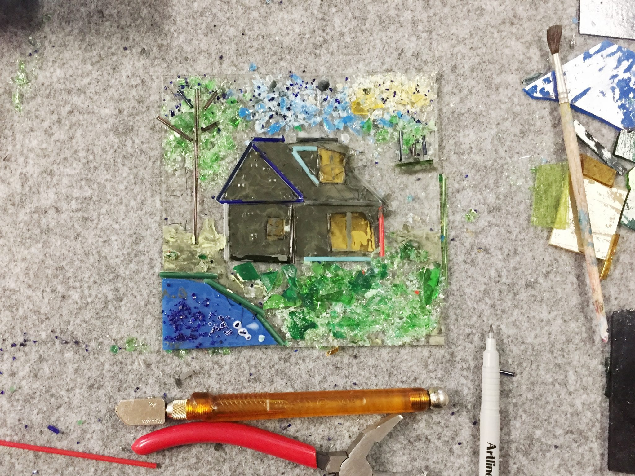 Handmade Glass painting and fusing. Workshop at Glass Point