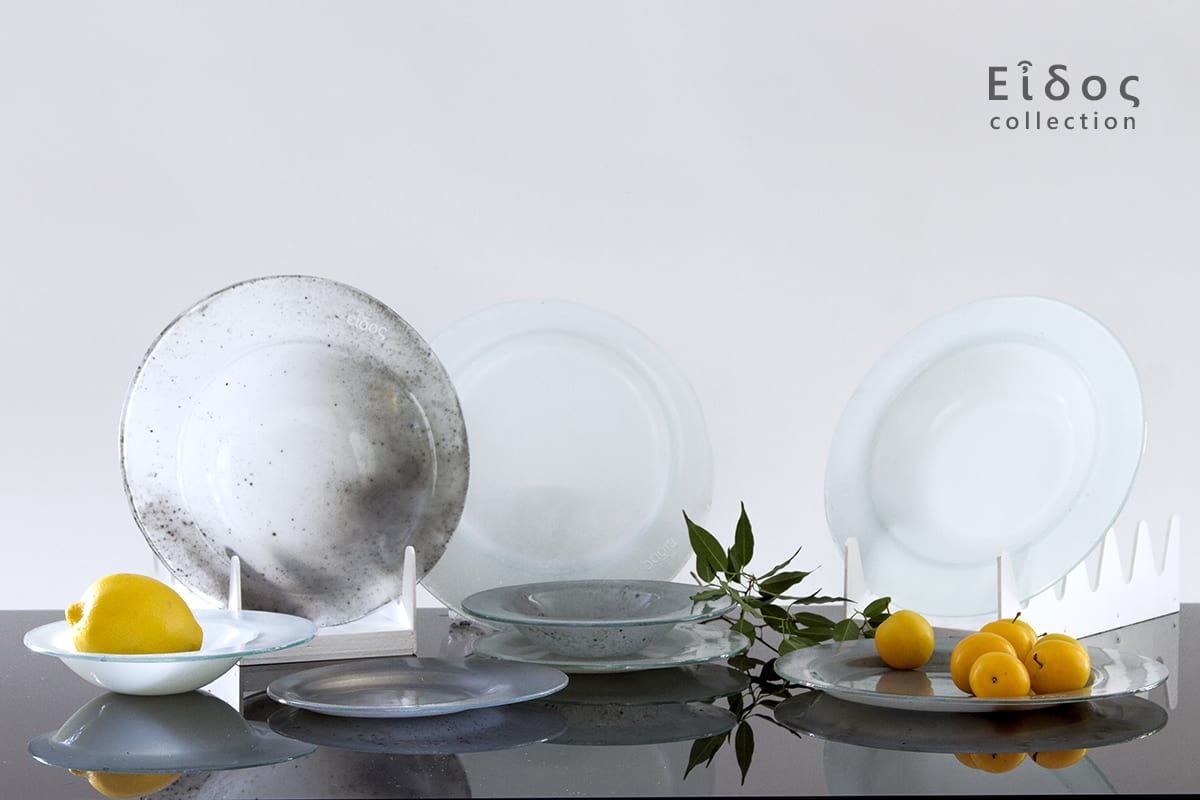 Collection Eidos. Customizable shapes and colors. Handmade minimalistic glass dinnerware. Glass Point