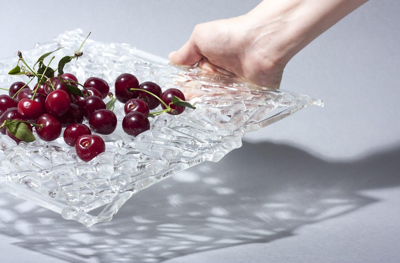 """Уникальная фруктовая стеклянная тарелка из переработанного стекла. Коллекция """"Azure"""". Ручная работa. Glass point"""