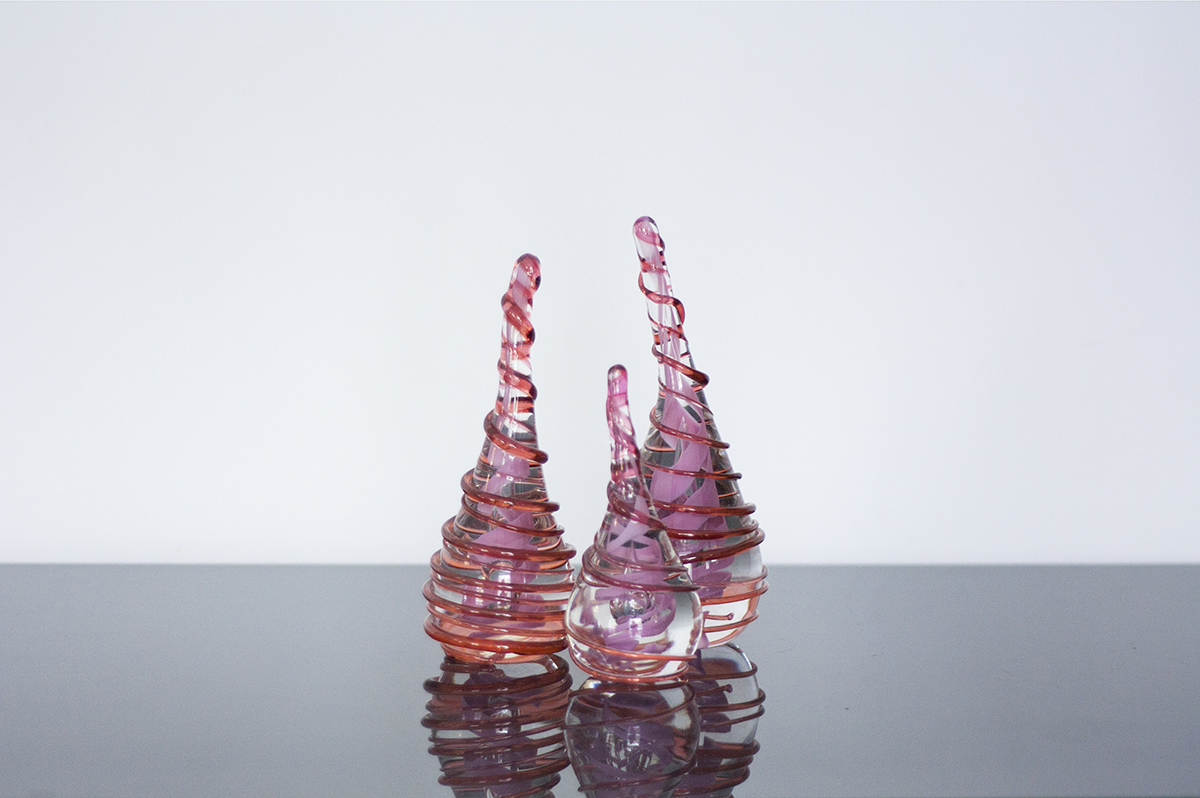 Unique Handmade Corporate Glass Gifts and Souvenirs. Blown glass award pink sculpture. Glass Point