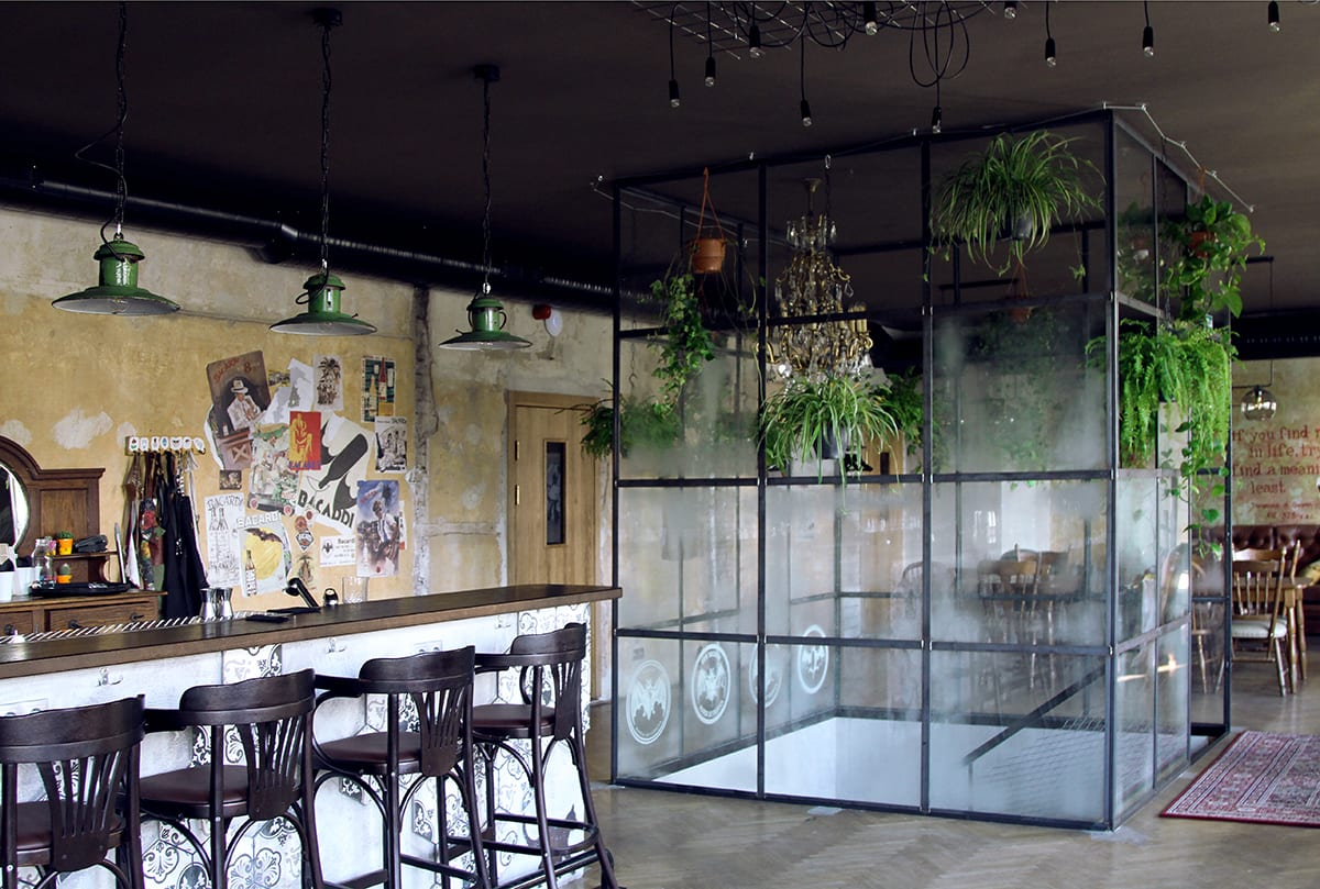 Glass in Interior Design. Fused art glass panels used as room separation in interior design for a bar. Glass Point