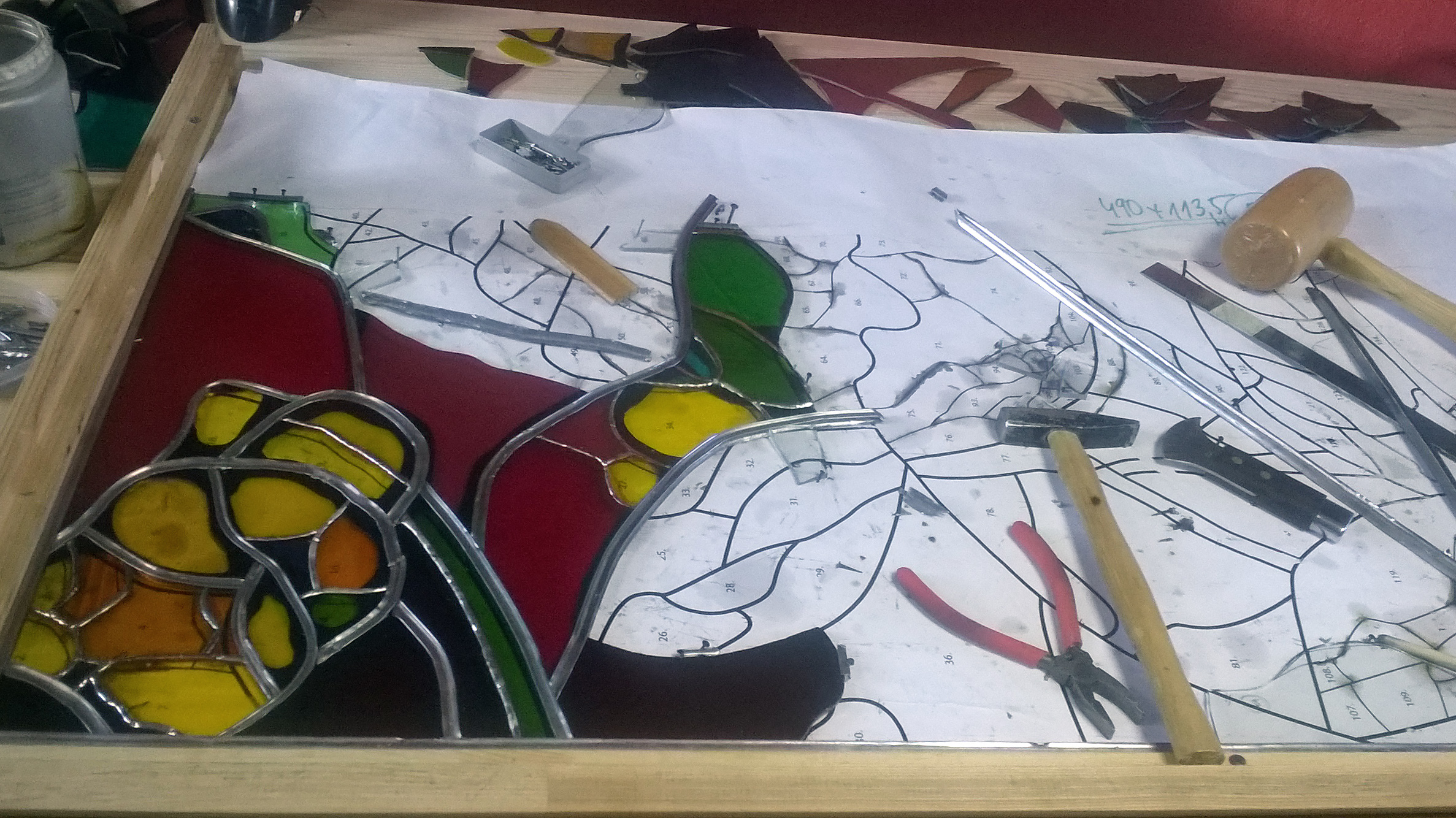 Process of making Custom Handmade Stained Glass. Glass Point