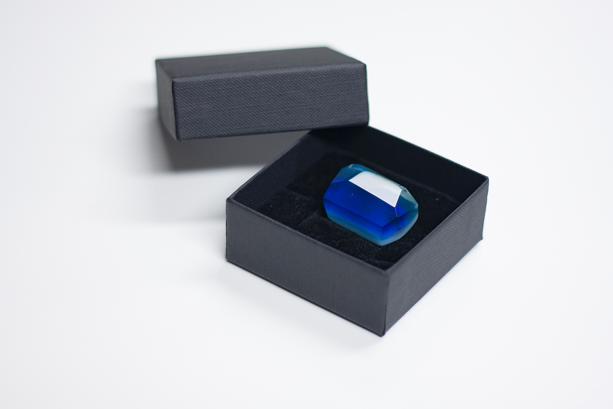Unique Handmade Corporate Glass Gifts and Souvenirs. Blue brooch in box for women. Glass Point
