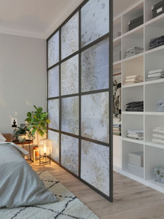 Glass in Interior Design. Fused art glass panels used as room separation in interior design. Glass Point