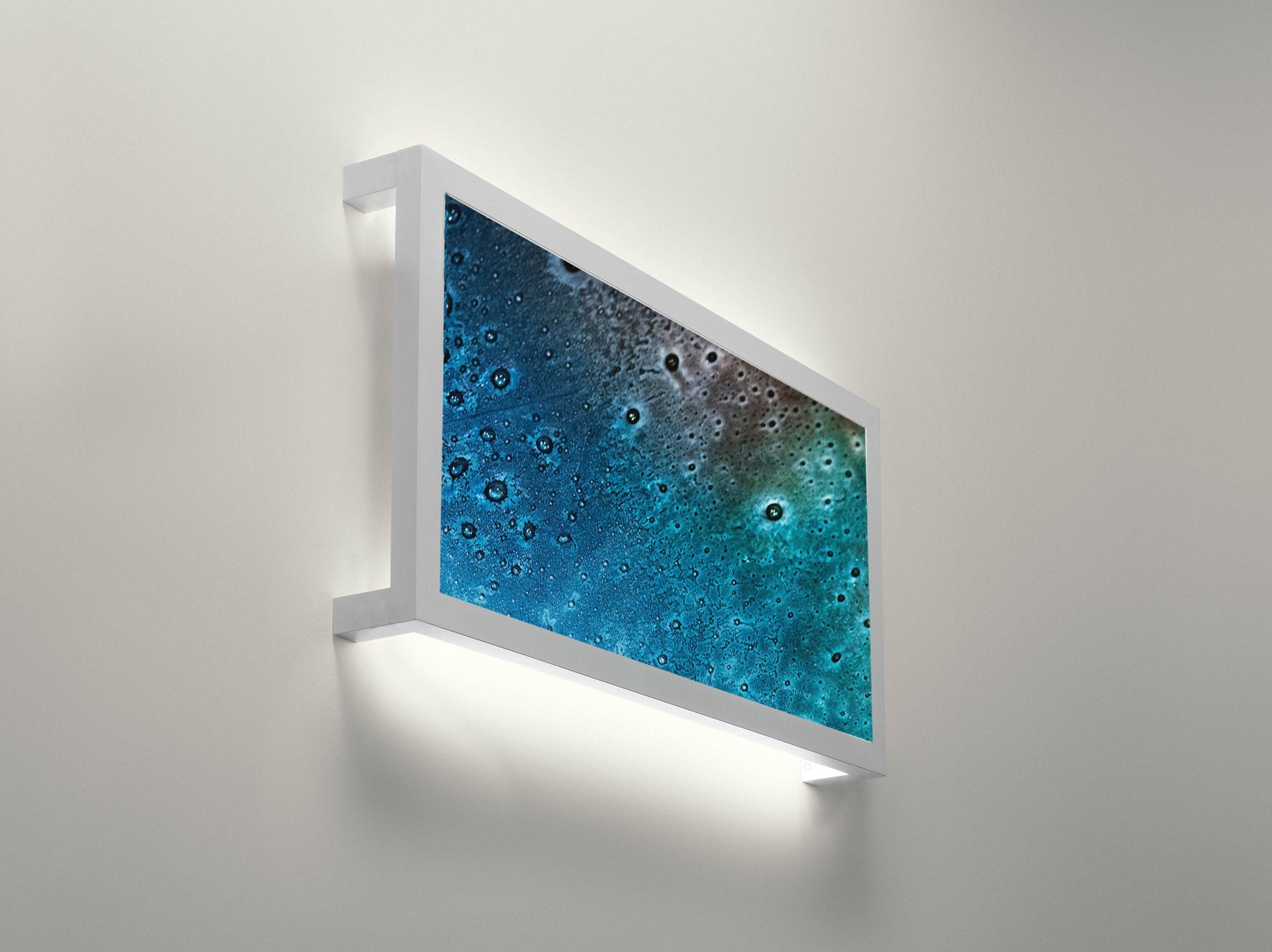 Glass in Interior Design. Colorful fused glass art panel used as lamp cover in interior design. Glass Point
