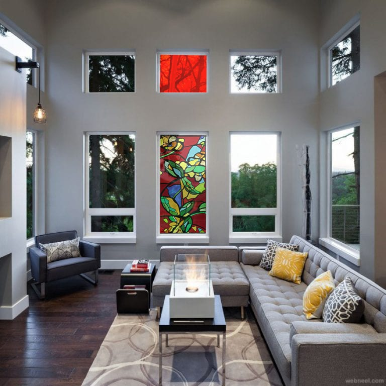 Glass in Interior Design. Stained glass window. Glass Point