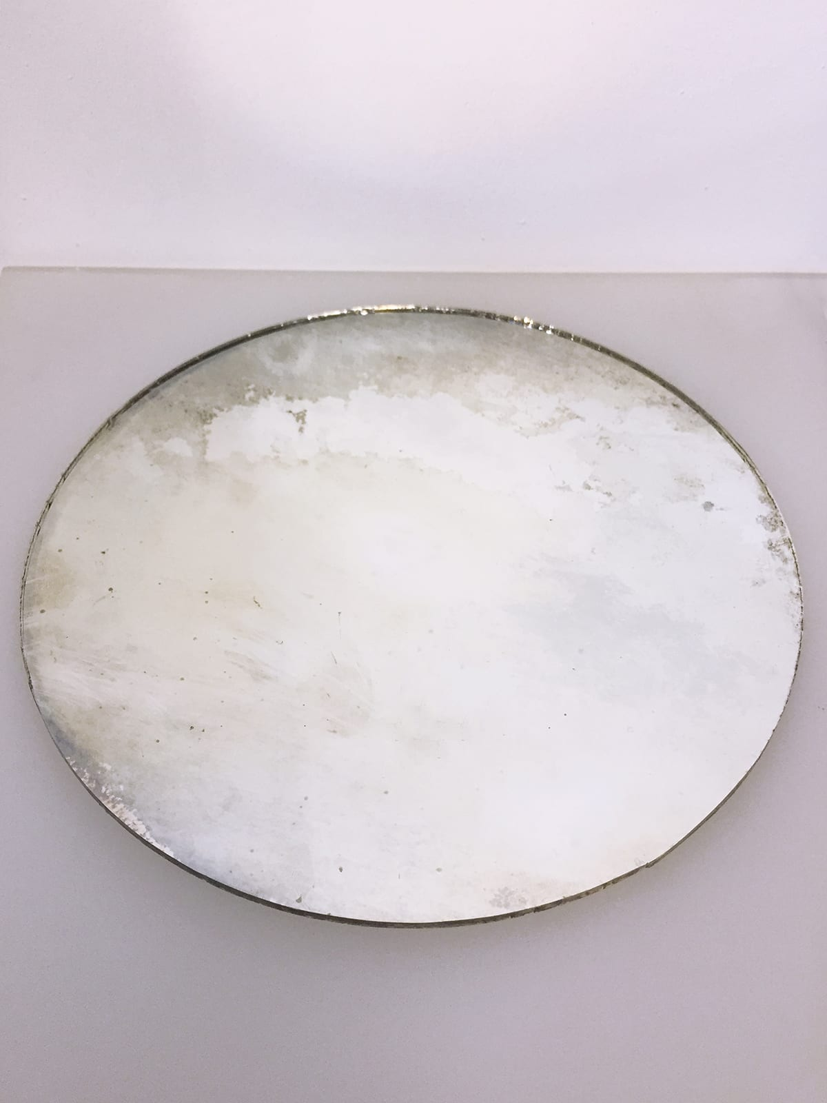Antique vintage aged glass mirror. Unique reflective surface on both sides. Glass Point