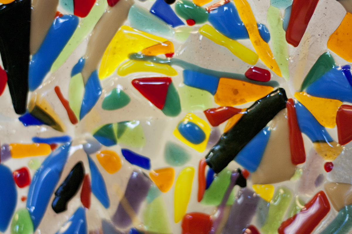 Close up of a Colorful Handmade Mosaic on Glass Plate. Workshop at Glass Point