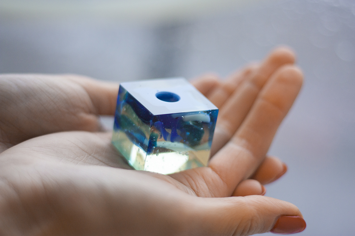 Custom handmade Glass Items. Glass Candle holder cube. Glass Point