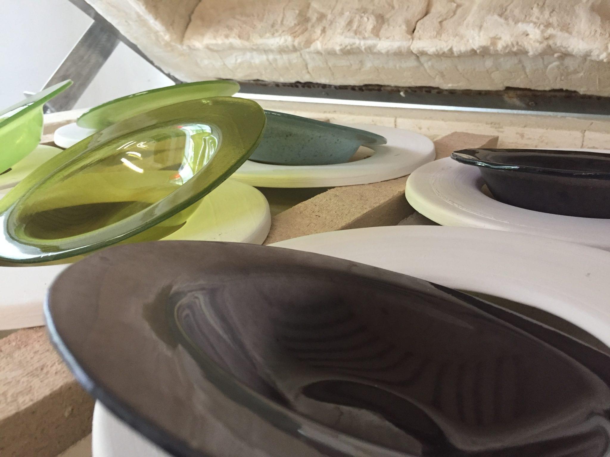 Custom handmade Glass Items. Unique green glass plates. Glass Point