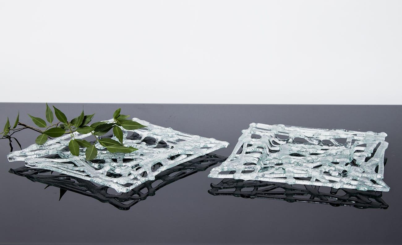 Stikla trauku kolekcija - Azur. Radīta no pārstrādāta stikla. Roku darbs. Elegants augļu trauks. Glass Point