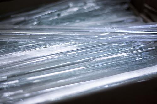 Stikla trauku kolekcijas - Azur tapšanas process. Radīts no pārstrādāta stikla. Roku darbs. Elegants augļu trauks. Glass Point